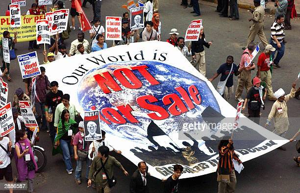 Antiglobalisation activists stage a march through the streets of Bombay at the end of the 2004 World Social Forum 21 January 2004 Antiglobalisation...