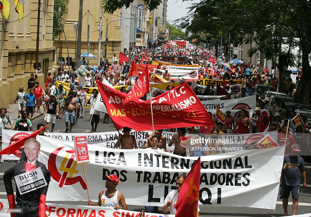 Antiglobalization activists demostrate during the closing day of the V World Social Forum in Porto Alegre south of Brazil 31 January 2005 During 6...