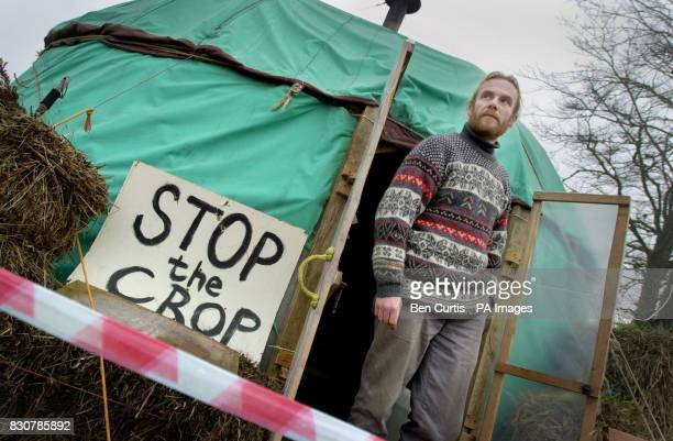 AntiGM crop protester Gwilyn Barlow stands outside the 'yurt' tent at the camp near Munlochy on the Black Isle in Scotland where he and fellow...