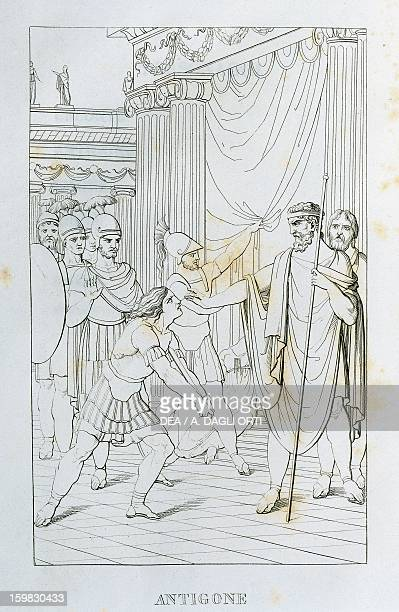 Antigone illustration from The Tragedies of Vittorio Alfieri engraving edition of 1820 Milan Biblioteca Nazionale Braidense