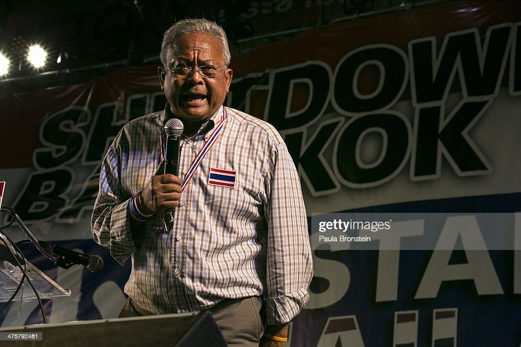 Anti-government leader <a gi-track='captionPersonalityLinkClicked' href=/galleries/search?phrase=Suthep+Thaugsuban&family=editorial&specificpeople=5734971 ng-click='$event.stopPropagation()'>Suthep Thaugsuban</a> speaks to a packed crowd at a protest site in Bangkok, March 1, 2014. After six weeks the anti-government protest called 'Bangkok Shutdown' is finally going to clear the streets of the city which caused severe business disruptions and traffic chaos as major intersections were blocked. The anti-government leader Suthep stated that the closure of the rally stages did not amount to a concession or surrender by the People's Democratic Reform Committee (PDRC) but a new phase of the protest.