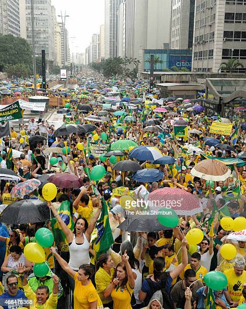 Antigovernment protesters demonstrate on March 15 2015 in Sao Paulo Brazil Protests across the country were held today against President Dilma...