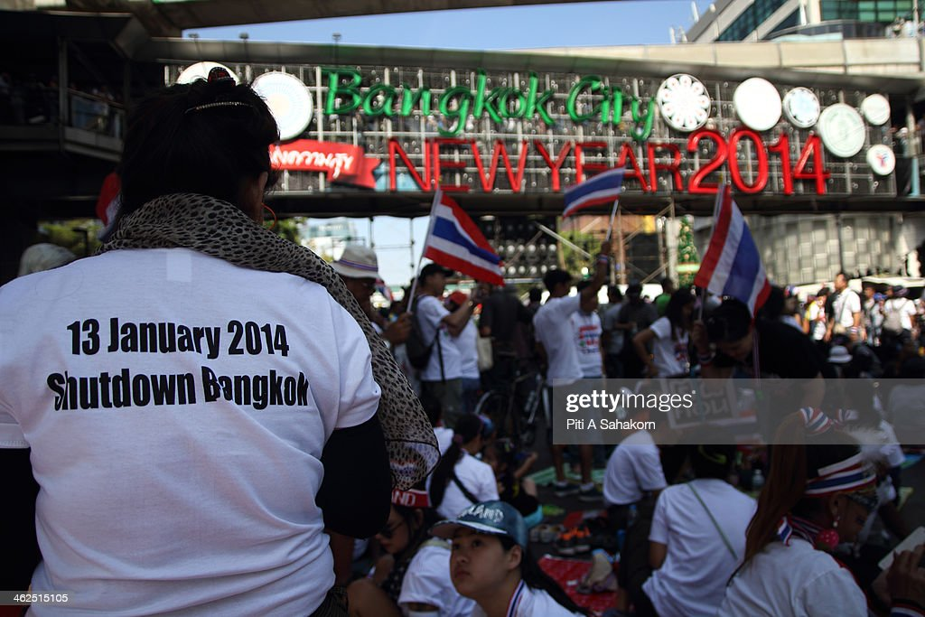 Anti-government protesters during a rally at Rajprasong intersection in Bangkok. Major intersections were blocked in Thailand's capital as protesters began a 'Bangkok shutdown' campaign to force out the government of caretaker Prime Minister Yingluck Shinawatra. Thai anti-government protesters said they would set up protest camps at seven main intersections in Bangkok in their bid to paralyse the capital. Protest leader Suthep Thaugsuban said 'We will do it all days and we will do it everyday until we win''.