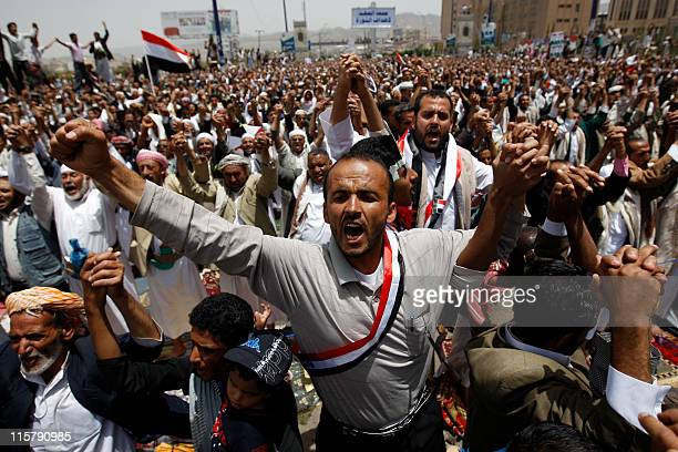 Antigovernment protesters gather calling for an interim presidential council to prevent embattled president Ali Abdullah Saleh from returning to...