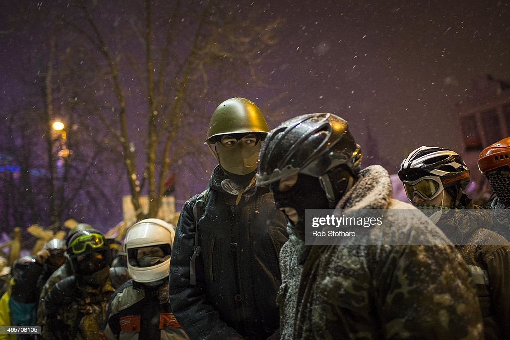 Anti-government protestors gather in Independence Square on January 29, 2014 in Kiev, Ukraine. Ukraine's parliament is holding a special session called over continuing unrest in the country and Prime Minister Mykola Azarov has offered to resign.