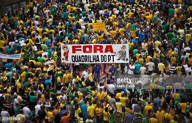 Antigovernment protestors march on Avenida Paulista during a demonstration calling for the removal of President Dilma Rousseff on March 13 2016 in...