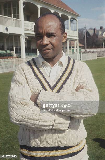 Antigua born English cricketer and player for Hampshire County Cricket Club Danny Livingstone posed in front of the main stand and club house at the...
