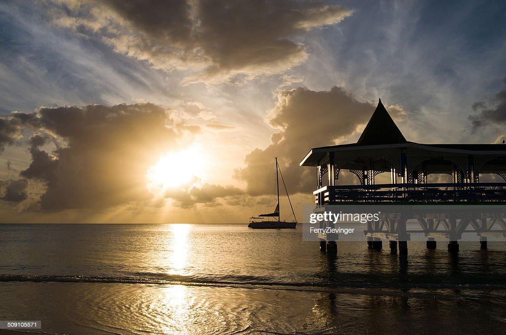 Antigua, Dickenson Bay, Pier at sunset