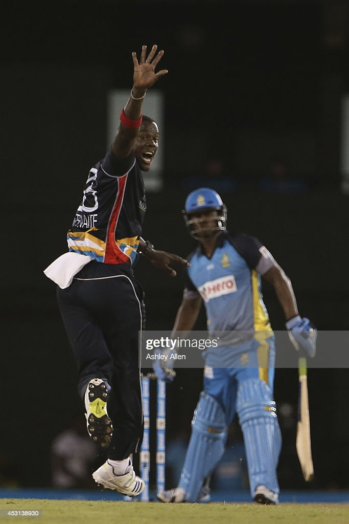 Antigua Hawksbill's bowler <a gi-track='captionPersonalityLinkClicked' href=/galleries/search?phrase=Carlos+Brathwaite&family=editorial&specificpeople=8538686 ng-click='$event.stopPropagation()'>Carlos Brathwaite</a> (L) appeals for the wicket of St Lucia Zouks batsman Johnson Charles LBW during a match between St. Lucia Zouks and Antigua Hawksbills as part of week 4 of the Limacol Caribbean Premier League 2014 at Beausejour Stadium on August 03, 2014 in Castries, St. Lucia.