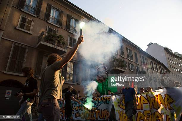 antiimmigration protest of the Lega Nord's and farright activists on October 18 2014 in Milan Italy