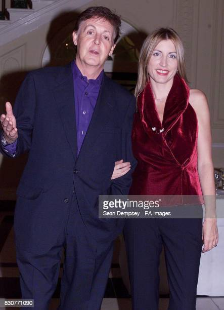 AntiLandmine campaigners including Sir Paul McCartney and his fiance Heather Mills patrons of Adopt a Minefield arrive at Canada House in London to...
