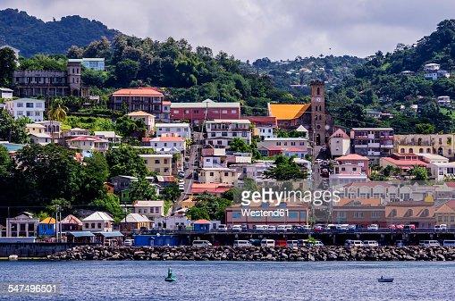 Antilles, Lesser Antilles, Grenada, view to St. Georges