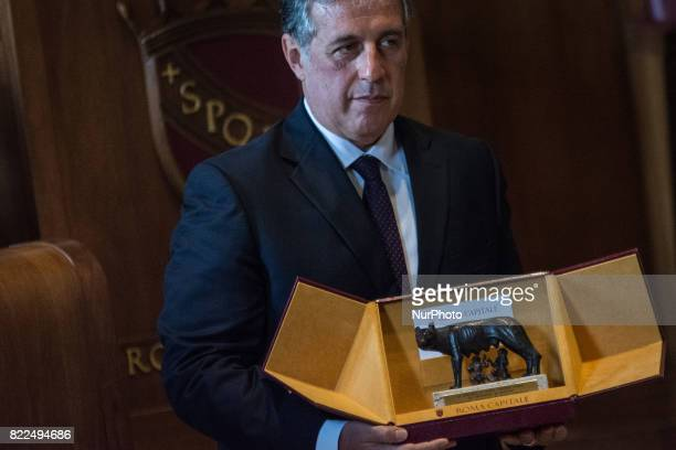 AntiMafia Magistrate Antonino Di Matteo reacts after being awarded the Honorary Citizenship of Rome by the Mayor of Rome Virginia Raggi in the Julius...
