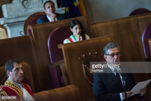 AntiMafia Magistrate Antonino Di Matteo speaks after being awarded the Honorary Citizenship of Rome by the Mayor of Rome Virginia Raggi in the Julius...