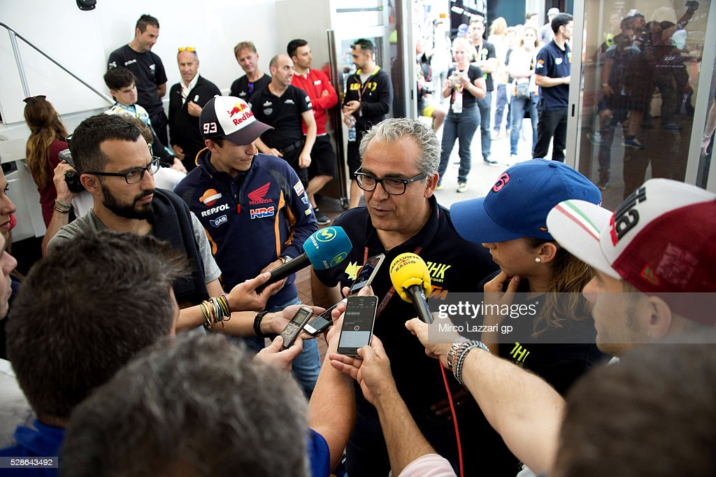 Antinio Herrera speaks with journalists during the presentation of the MH6 Team of Maria Herrera of Spain and MH6 Team during the MotoGp of France - Free Practice on May 6, 2016 in Le Mans, France.