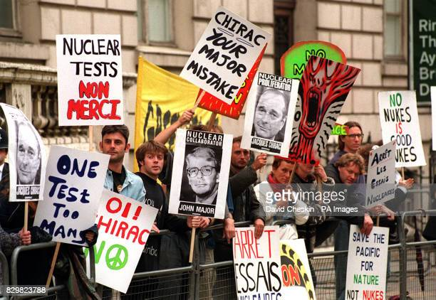 Antinuclear demonstrators gather outside the French Embassy in London today Late last night the French Government disclosed that it had carried out...