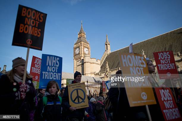Antinuclear protesters gather in central London on January 24 calling for the government to abolish the Trident nuclear missile program AFP PHOTO /...