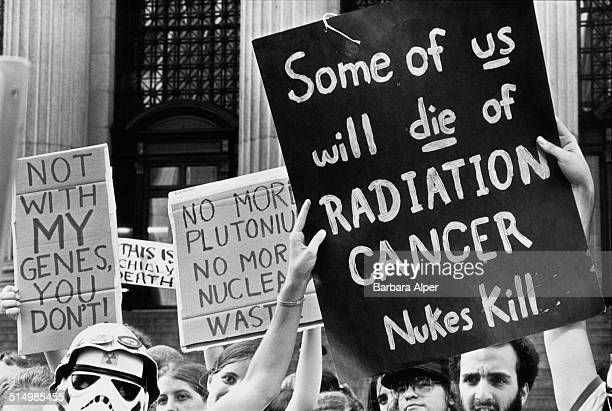 Antinuclear protestors at a People's Convention on Eighth Avenue New York City during the Democratic National Convention 11th August 1980 One placard...