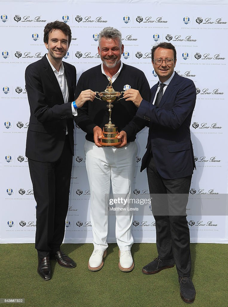 Antione Arnault, Loro Piana, <a gi-track='captionPersonalityLinkClicked' href=/galleries/search?phrase=Darren+Clarke&family=editorial&specificpeople=171309 ng-click='$event.stopPropagation()'>Darren Clarke</a>, European Ryder Cup Captain and Pascal Grizot, president of Ryder Cup France pictured during the launch of the official Clothing Suppliers to European Ryder Cup Team during day one of the 100th Open de France at Le Golf National on June 30, 2016 in Paris, France.
