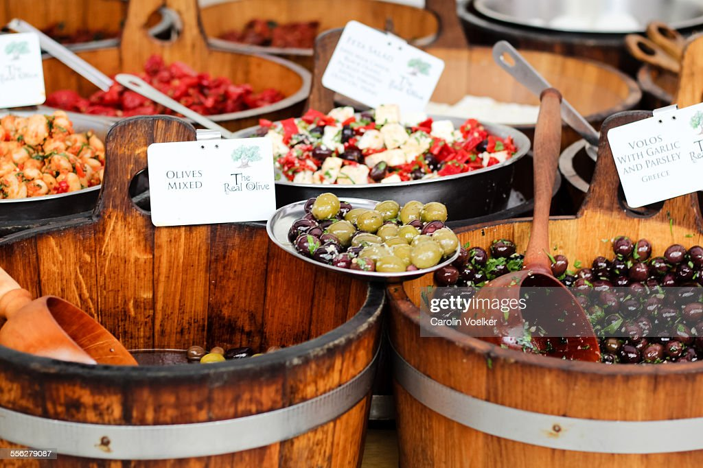Antipasti and olives for sale