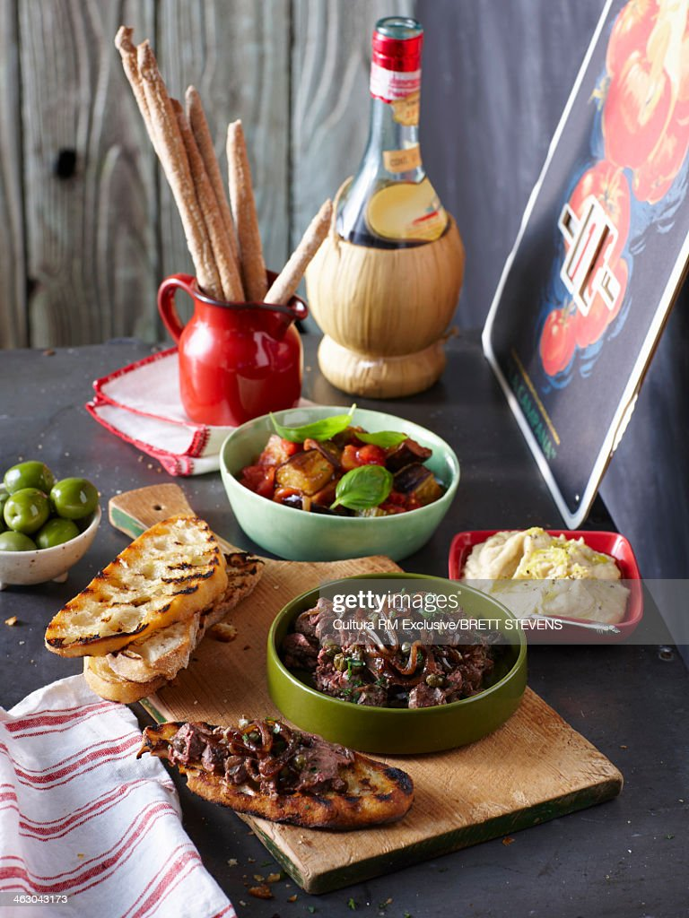 Antipasto Three Ways - Black Olive Tapenade, Green Olives, Roasted Vegetables, White Bean Dip, Grizzini, Crusty Bread