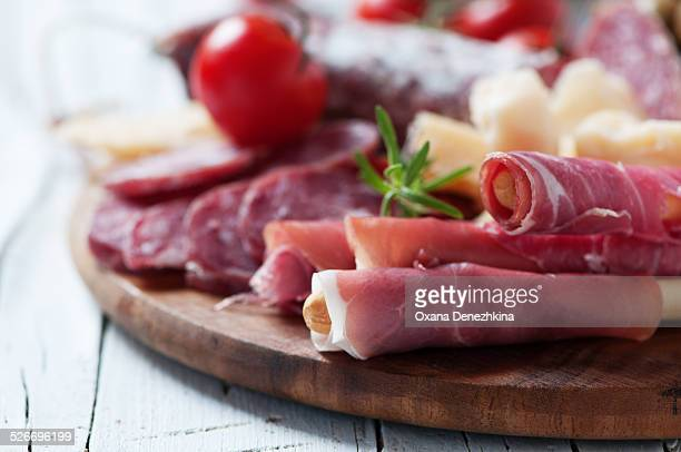 Antipasto with prosciutto, cheese, olive, sausage