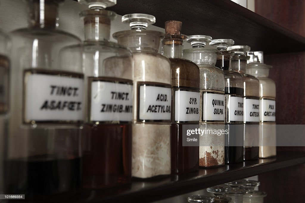Antiquated chemical bottles : Stock Photo