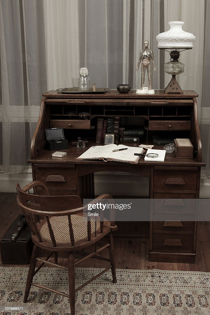 Antiquated doctor's desk : Stock Photo