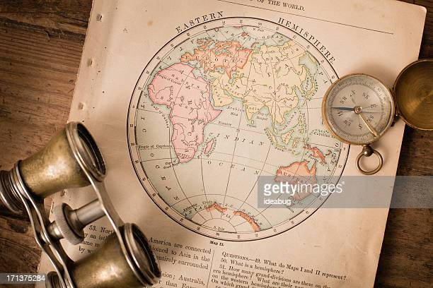 Antique 1870 Map of Eastern Hemisphere, Binoculars, and Compass