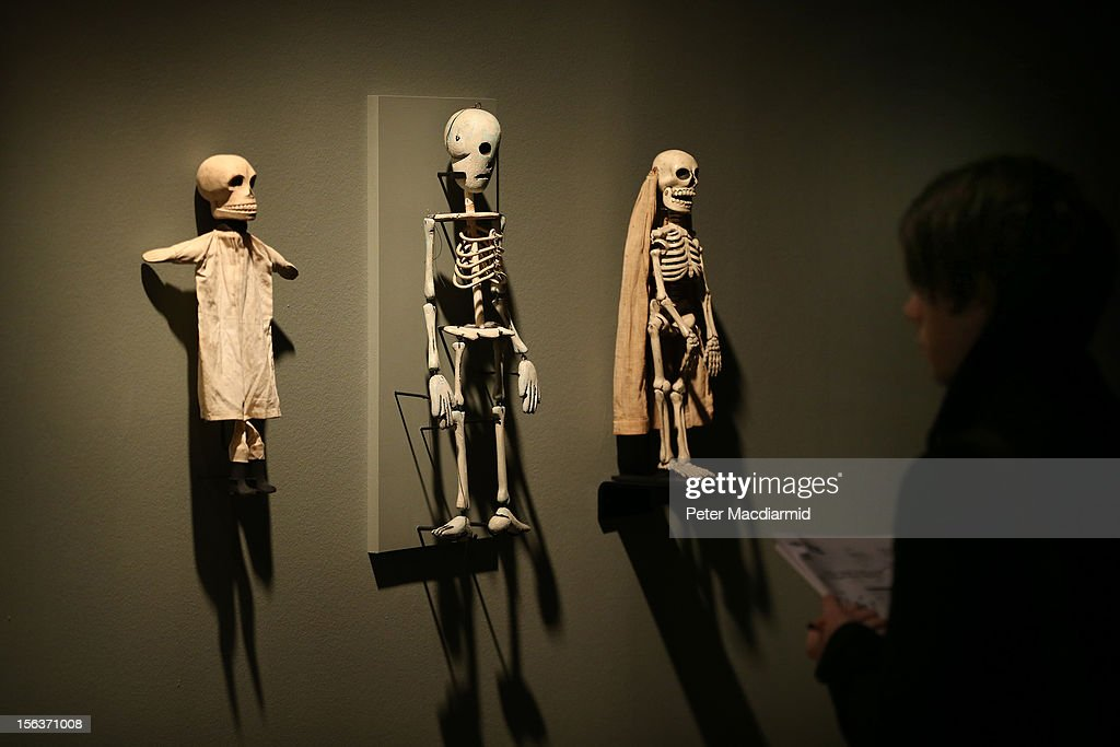 Antique American skeleton puppets are shown at the Death: A Self-portrait exhibition at the Wellcome Collection on November 14, 2012 in London, England. The exhibition showcases 300 works from a unique collection by Richard Harris, a former antique print dealer from Chicago, devoted to the iconography of death. The display highlights art works, historical artifacts, anatomical illustrations and ephemera from around the world and opens on November 15, 2012 until February 24, 2013.