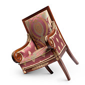 Antique chair with broken leg on white background.