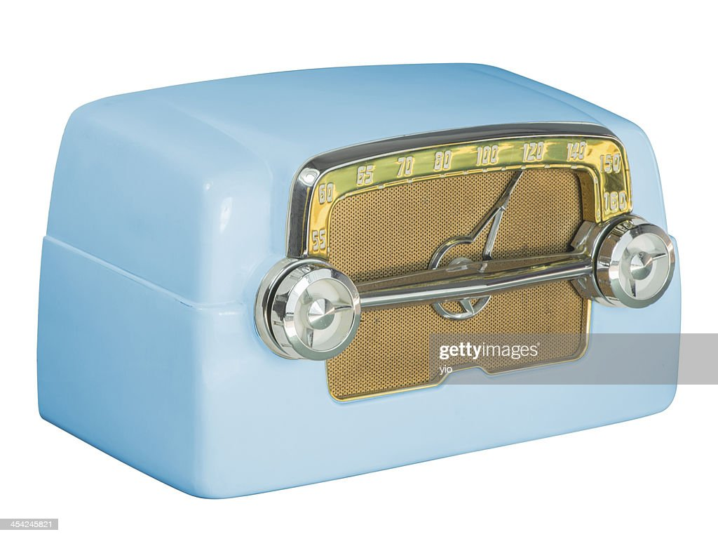 Antique Bakelite Tube Radio 07 Blue : Stock Photo