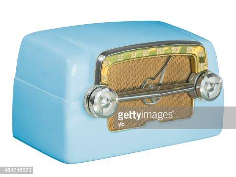Antique Bakelite Tube Radio 07 Blue : Stock Photo