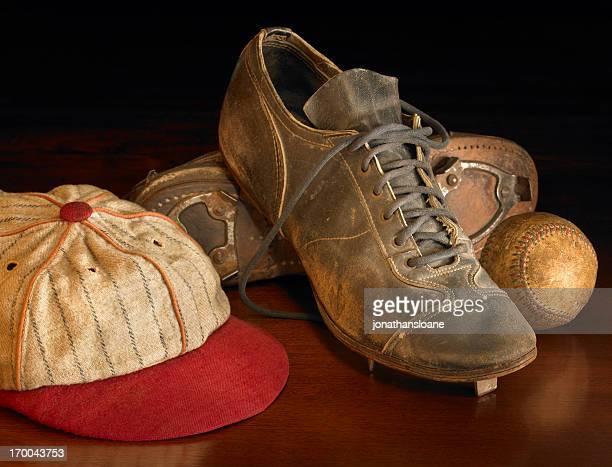 Antique baseball items on wood