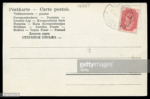 Antique blank postcard sent from Russia in early 20th century : Foto de stock
