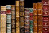 """A row of antique books dating from 1838 to c1890'sBound in leatherEliza Fanny Pollard(1840aa1911)Friend, Hilderic, 1852- 1940 (Flowers and their story)R. M. Ballantyne (1825 aa 1894William Paley 1743"