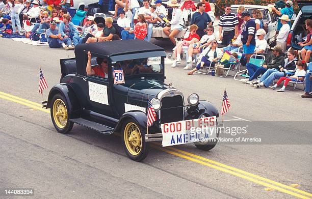 Antique Car in July 4th Parade Pacific Palisades California