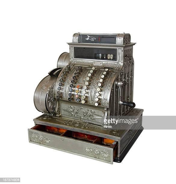 Antique cash register on white background