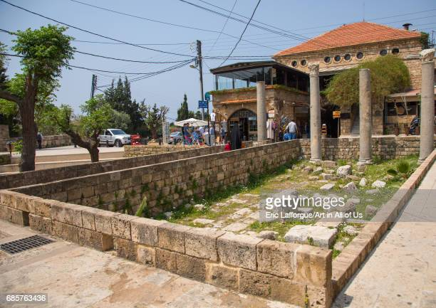 Antique coloumns in the historic town Mount Lebanon Governorate Byblos Lebanon on April 29 2017 in Byblos Lebanon