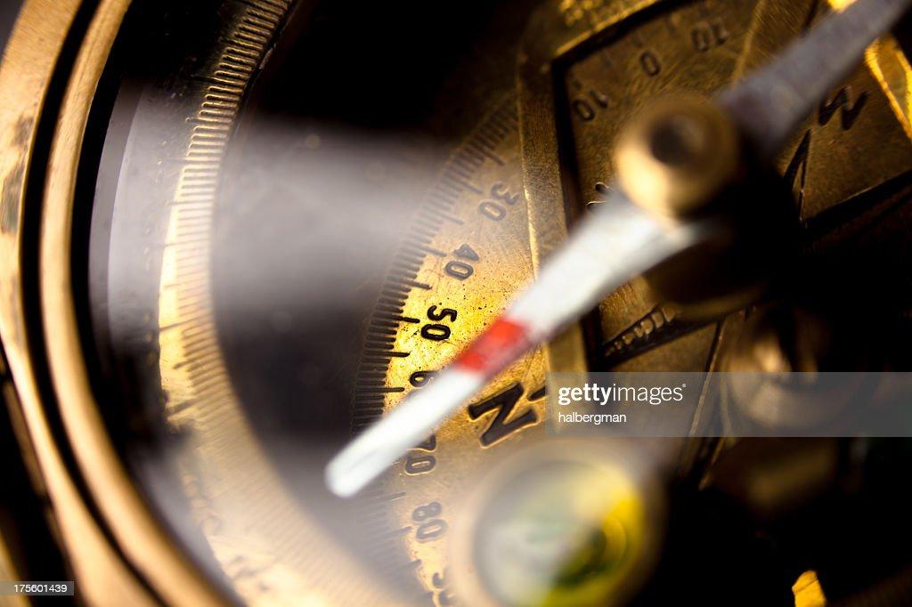 Antique Compass Macro Closeup : Stock Photo