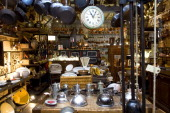 Antique dealer Francois Bachelier's store is specialised in antique kitchen ustensils in SaintOuen flea market on April 25 outside Paris France...