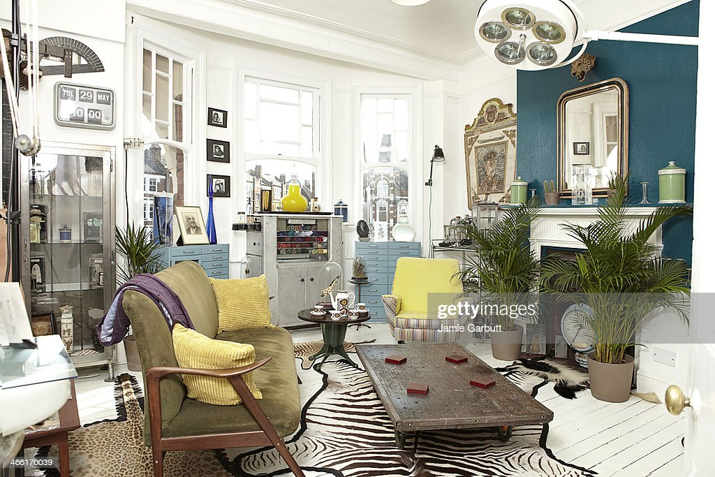 Antique dealers living room furnished with stock. : Stock Photo