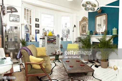 Antique dealers living room furnished with stock.