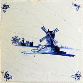 Antique Delft Blue Tile