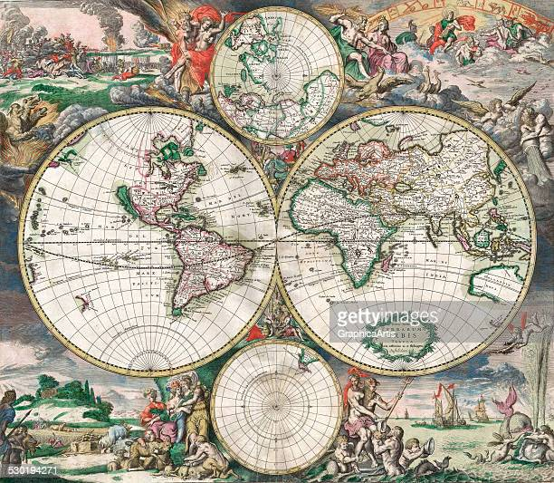 Antique doublehemisphere world map with landscapes and mythological scenes 1689
