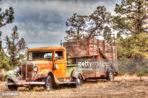 Antique farm truck and trailer