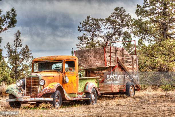 Antique farm truck and trailer
