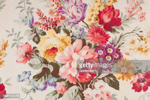 Antique floral fabric SB43 Close Up