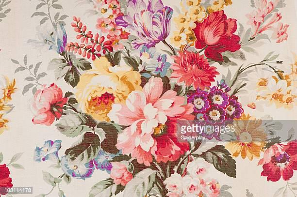 Tissu fleuri vintage SB43 gros plan
