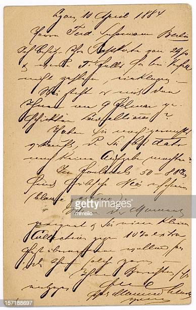 Letras antiguas francés manuscrito la antigua tarjeta postal